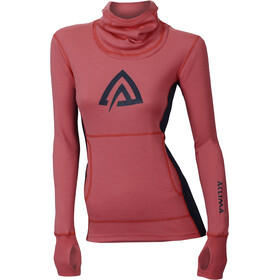 Aclima WarmWool Hood Sweater Dame Calypso Coral/Peacoat